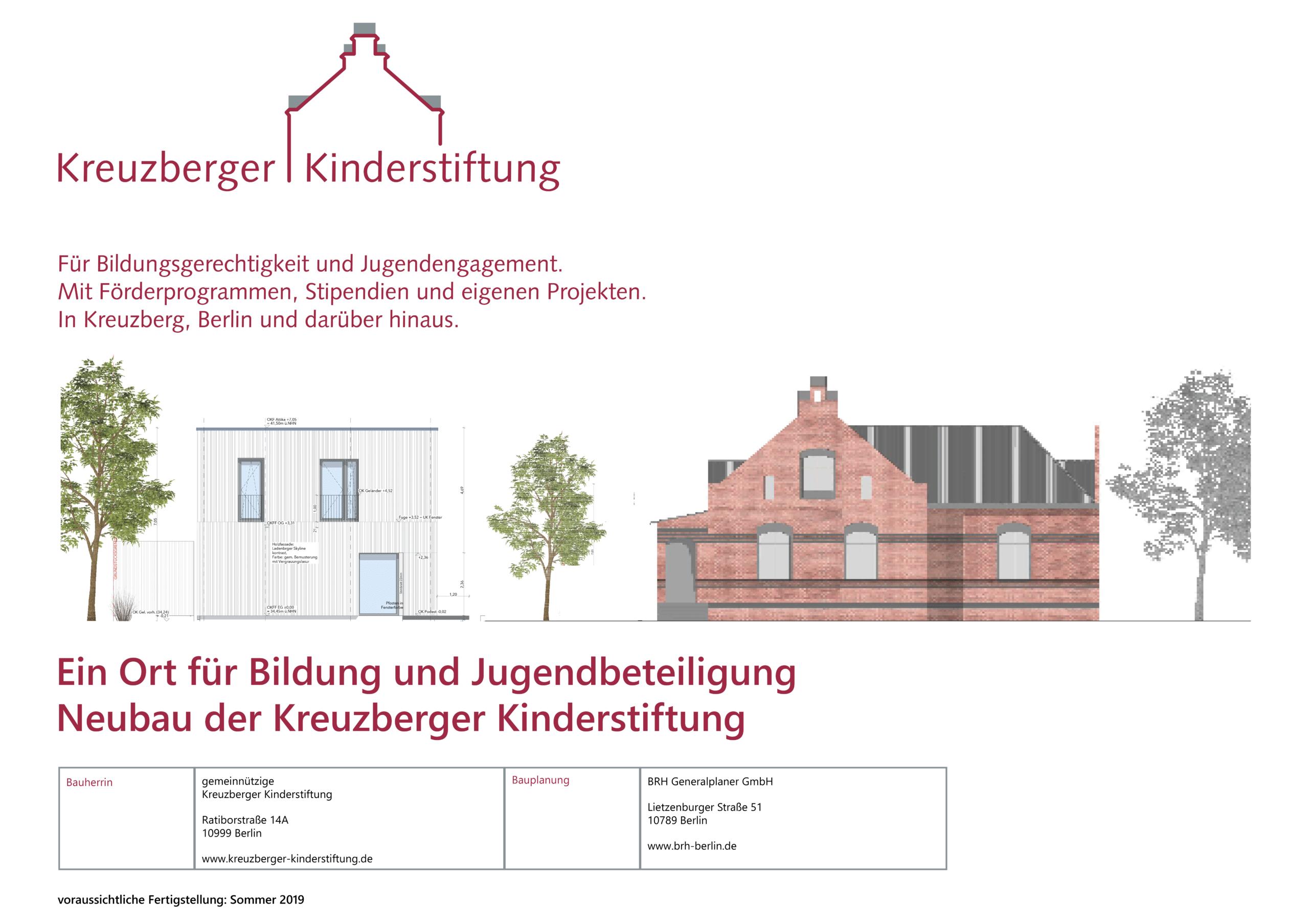 Kreuzberger Kinderstiftung Bauschild Neubau